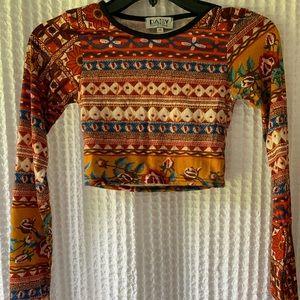 ASOS Patterned Long-Sleeve Cropped Shirt